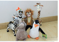 Wholesale Madagascar plush toys lion zebra giraffe monkey Penguin hippo 6pcs/set children gifts Stuffed animal doll