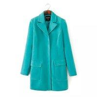 Stylish Brief Fashion Women Long Woolen Coats Long Sleeve Turn Down Collar Lady Slim Outerwear Lake Blue YS93234