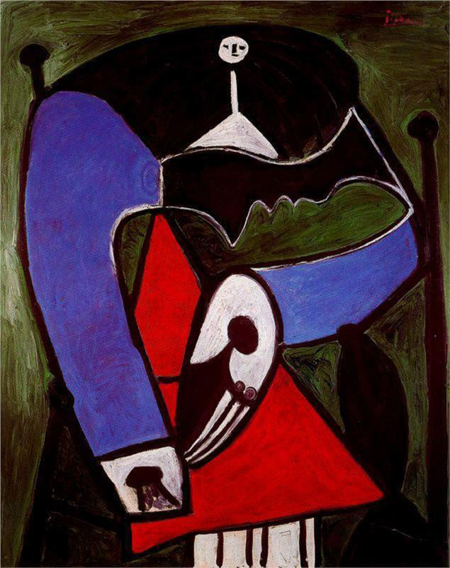 Woman sitting in an armchair by Pablo Picasso Painting ,High quality,womanabstract artoilpainting Canvas,Home Decor,Hand-painted(China (Mainland))