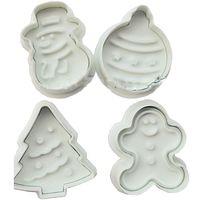 1Set/4PCS Free Shipping 2015 3D Christmas Snowman Snowflake Fondant Cake Chocolate Sugarcraft Mold Cutter Tools DIY