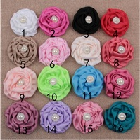 2.95 Inch Large Headdress Flower Brooches Accessories Rose Buds Satin Fabric pearl Flowers For Hair Accessory 10Pcs/lot