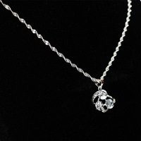 Clear Created Crystal Pendant Necklace with Silver Color Chains Three White Diamond Decorate for Women Wedding or Party
