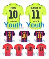 Youth 14/15 Home away 3rd third Yellow Kids Soccer Jerseys Fooball kit SUAREZ Lionel Messi Neymar JR Ivan Rakitic Free Custom