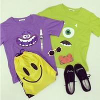 Lady girl cute Cartoon Monsters University printed green purple short-sleeve cotton T-shirt smiley emoji t shirt tee tops