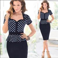 2015 New European Fashion Summer Women Elegant Ruffles Vintage Dot Knee Length Celebrity Bodycon Party Vestidos Dress Plus Size