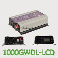 1000W LCD wind power grid tie inverter with dump load,MPPT pure sine wave on grid inverter for DC 22-60V/45-90V wind turbine