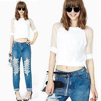 Sexy Women's Short Sheer Gauze Sleeve Bodycon Crop Shirt TEE Blouse Top T-shirt