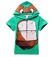 2015 New Arrival Free shipping baby children clothing boys kids Teenage Mutant Ninja Turtles TMNT short sleeve t shirt top hoody