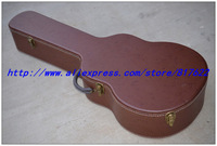 Guitar hard case - brown color with black lining inside  for jazz L-5 style guitar, free add LOGO, not sold separately