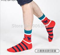 Free shipping!New Wholesale british style new men's socks,fashion brand socks for man,horse pattern socks,striped cotton meias