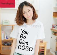 Summer Is Lovely Feminine Women CoCO T-shirt Printing Fashion cocoa t-shirt Brand Women tshirt S - XXL Free Shipping