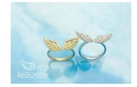 Small angel wings Index finger female opening rings wing ring