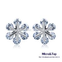 Wholesale Snowflake CZ Stud Earrings For Women Quality Austria Casual Silver Earring Female Austria Fashion Classic Stud Earring