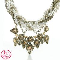 2015 Fashion jewelry multi strand stack Brass Plating chain braided pearl & rhinestone beaded chunky choker statement necklace
