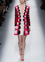 Free Shipping Long Sleeve Small V-neck Dots  Dress 141215DB01