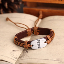 12pcs lot Colors mix genuine leather vintage peace word charm red braid handmade love bracelet bangle