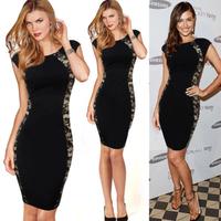 Women Celeb Elegant Black Tunic Wear To Work Party Career Business Pencil Sheath Dress 2014 Slim Midi Casual Elegant Lace Dress
