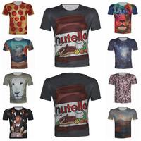 Top Fashion Pizza/Galaxy/Nutella/Snake/Lion Print 3D T Shirt Men 2015 Brand Design Plus Size XS-6XL Tees Sport T-Sgirt Hot Sale
