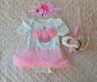 3Pic Newborn girls summer Bodysuits Sets headband+dress+shoes bread Pink baby Party Princess clothes 0-12M  roupas de bebe