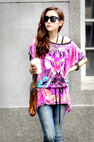 women shirt 2015 new arrival fashion t shirt women casual tees tops printing batwing sleeve o-neck loose tropical clothing