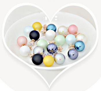 430 8 цветов 1 шт. бесплатная доставка 2015 новинка бренд женщин жемчужина конфеты пирсинг заявление свадьба серьги двойной сталкиваются
