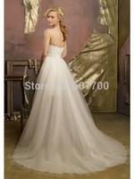 New Hot sale Cheap Short Front Long Back Sweetheart Sleeveless Neck  Custom made  Beading Wedding Dress