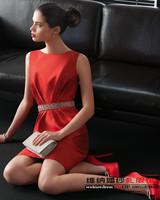 Fashion 2015Fashion red bridal satin evening dress short design bridesmaid dress