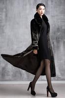 2015 Luxury faux fur mink cashmere women's coat new fashion women coat gorgeous upscale fur coat with natural fur coat long E045