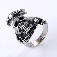 High Quality Punk Mens Boys Skull Bird Wrap Ring Silver Tone 316L Stainless Steel Ring Wholesale Fashion Gift US Size 8-13 HR245