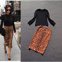New Arrival Victoria style Long Sleeve Black Top+Leopard Printed Slim Skirt  Skirt Set  141215CH02