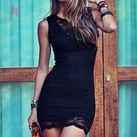 2014 Women Summer Dress Beautiful V Neck Black Elegant Lace Mini Dress Desigual Vestidos de Festa