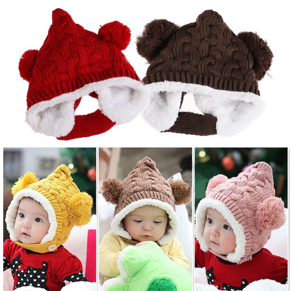 #Cu3 New Baby Boy Girl Winter Fur Ball Bonnet Infant Ear Protector Cute Hat Cap(China (Mainland))