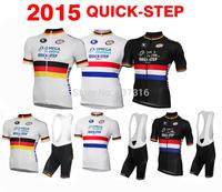 New Arrival!2015 QUICK STEP 3 Styles Cycling Jersey Short Sleeve bib Shorts Kits Men Ropa Ciclismo Bike Tight  fashion wear!!