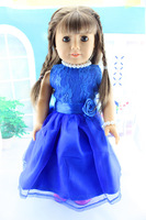 """Free shipping hot 2014 new style blue 18"""" American girl doll dress clothes with pearl jewelry"""