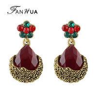 Brincos De Fest 2015 Pendientes Ruby Jewelry Rose Flower Vintage Alloy Earrings Luxury Dangle Earring for Women