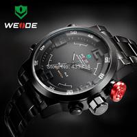 new WEIDE  Men's Military Watches Men Luxury Brand Full steel Watch Sports Diver Quartz Multi-function LED Display Wristwatch