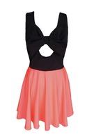 Wholesale European style New fashion 2015 spring summer dresses women mini chiffon open back sexy hollow out dress blue orange