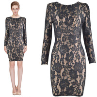 2015 new arrival high quality beige and black lace long sleeve bandage Celebrity dress Party Evening Dresses HL