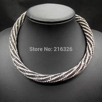 2015 latest ZA design chain choker necklaces fashion rhinestone claw chain collar necklace statement pendant women chunky neck