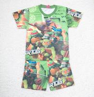 free shipping 2015 New Mutant Ninja Turtles TMNT boy boys short sleeve t shirt top + shorts pants sleepwear summer pajamas