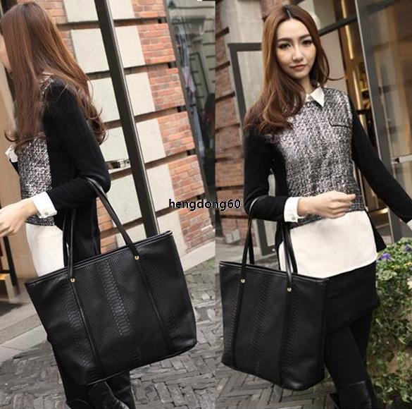 K0E1 Women Big Shoulder Handbag Purse Bag Black Tote Messager Pattern Leather(China (Mainland))