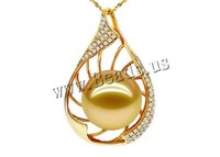 Free shipping!!!Golden South Sea Pearl Pendant,korean, with  & 18K Gold, Teardrop, natural, gold, 14-15mm, Hole:Approx 3-5mm