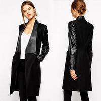 2015 Winter Fashion New Overcoat Brand Elegant Sale Black Contrast PU Leather Pockets Woolen Patchwork Female Coat