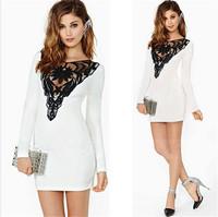 Vestidos 2015 Bandage Dress Women Celebrity Lace Colorblock Mesh Hollow Slim Hip Bodycon Mini Evening Party Dresses Casual Dress