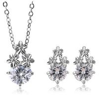 New Jewelry Sets Clover CZ Zircon Pendant Necklace Earring Set  Wedding Jewelry