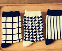 brand happy socks men socks, british style cotton in tube socks