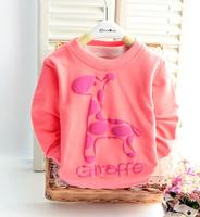 2015 New Free Shipping Autumn And Spring Children Giraffe Pattern Long Sleeve Sweatshirts Cute Coat  Baby Girl Hoddies