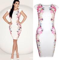 New 2015 Summer Spring Print Dress Women's Short-Sleeve Knee-Length Sexy Pencil Dress Casual Ladies Elegant Office Dresses