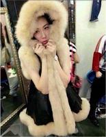 2015 temperament plush grass leather trim hooded long sleeveless women fur vest washing coat