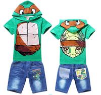 free ship 2015 boy boys Teenage Mutant Ninja Turtles TMNT Short sleeve t shirt top hoody + denim shorts jeans pants outfit set